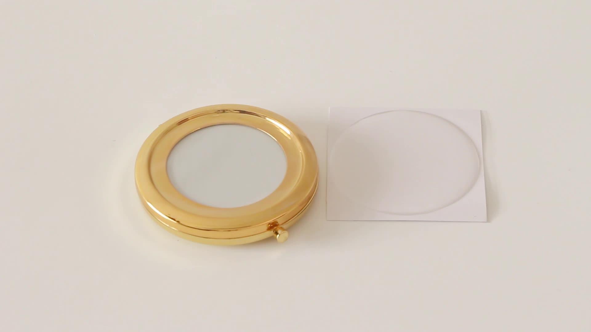 Oro plegable espejo compacto viene con resina epoxi etiqueta engomada