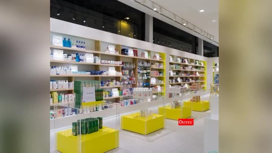 Personalizada de fábrica de medicina muebles farmacia gabinete laminado farmacia estantes para farmacia, tienda de diseño Interior
