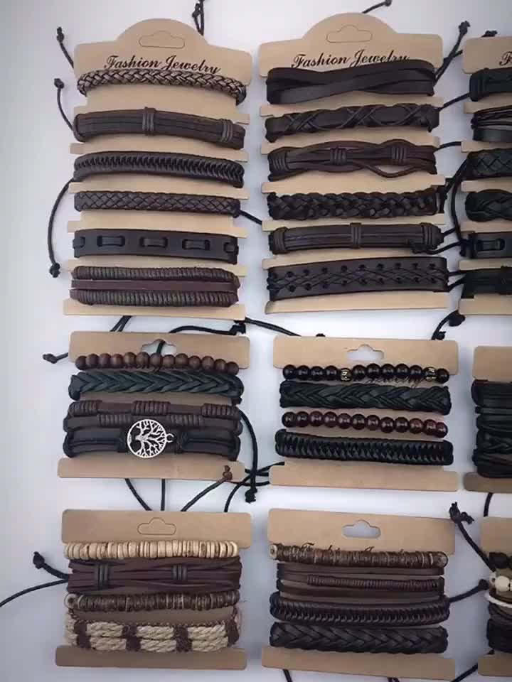 Acessórios masculinos feitos à mão pulseira de couro pulseira de mão personalizada masculina