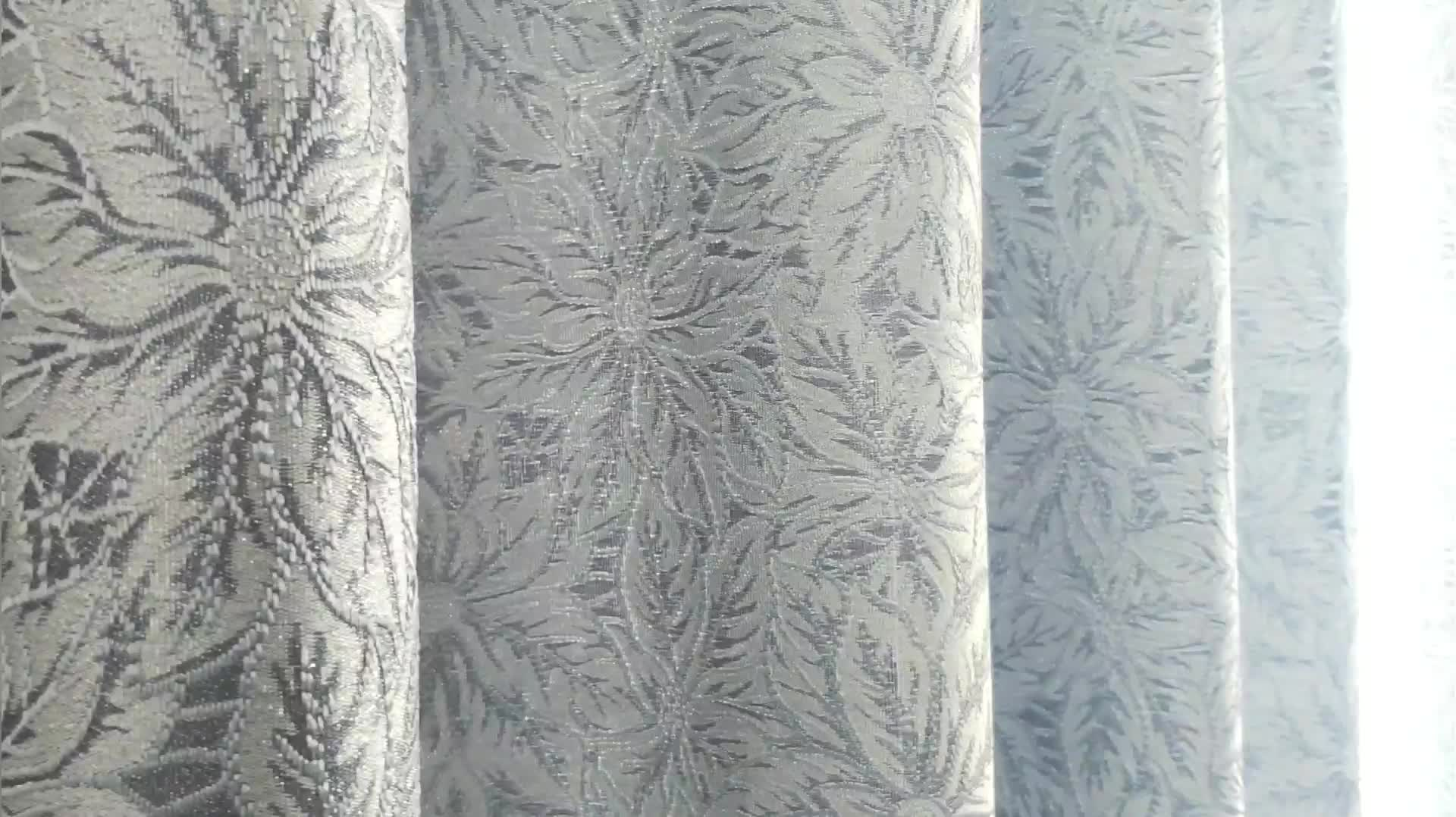 Wholesale factory price silver shiny thread blenched busy blooming flowers jacquard fabrics