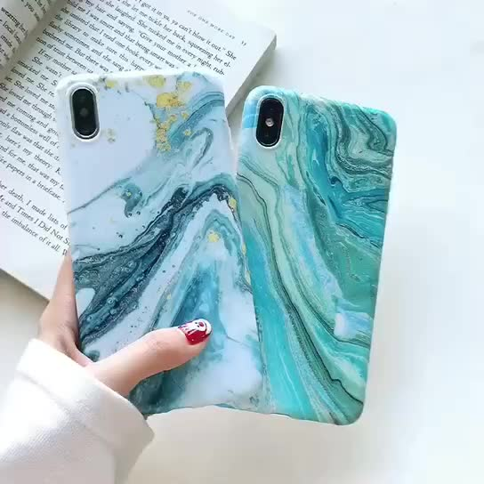 Free Shipping Quicksand Blue Marble Phone Case For iPhone Xs Max,For iPhone XR Luxury Hard Back Case,For iPhone X Cover