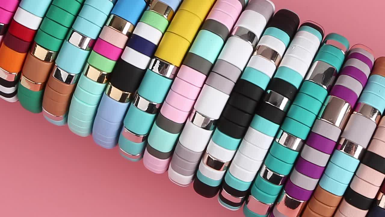 DiY New Rainbow Color Enamel Tile Charm Bangle Bracelet For Women Jewelry