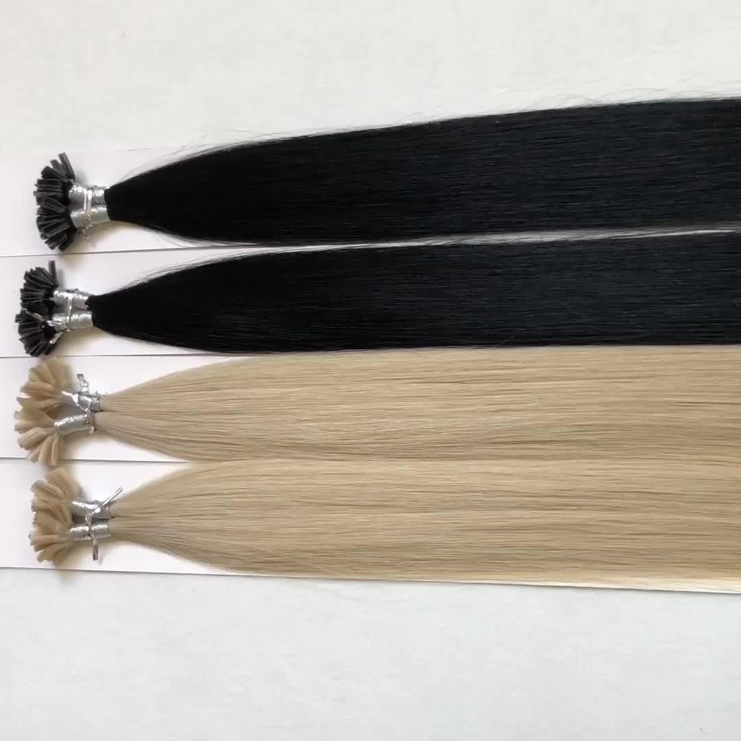 Russo capelli di punta del bastone di estensione dei capelli ondulati umani di remy italiano cheratina biondo cenere mini i punta estensione dei capelli ricci