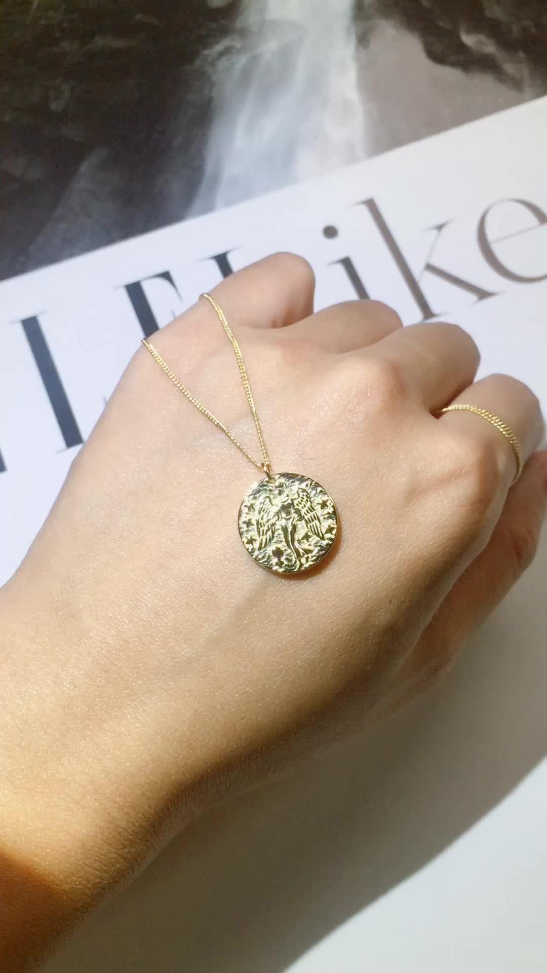 18K Gold Überzogene Klassische Alte Rom Münze Halskette Silber Jewely 925 Runde Anhänger Halsketten für Damen