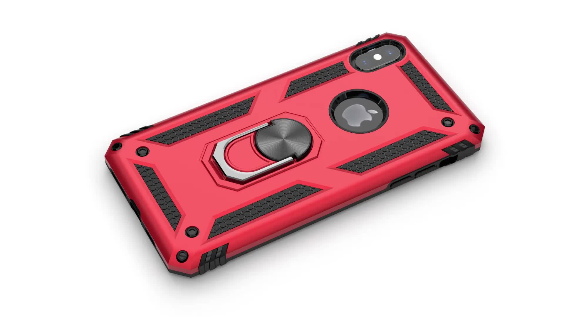 高級防具耐衝撃ケース iphone xs 最大ケース 11 プロ X XS 最大 XR 7 8 プラスタッチ 5 シリコーンバンパーケース金属リングカバー