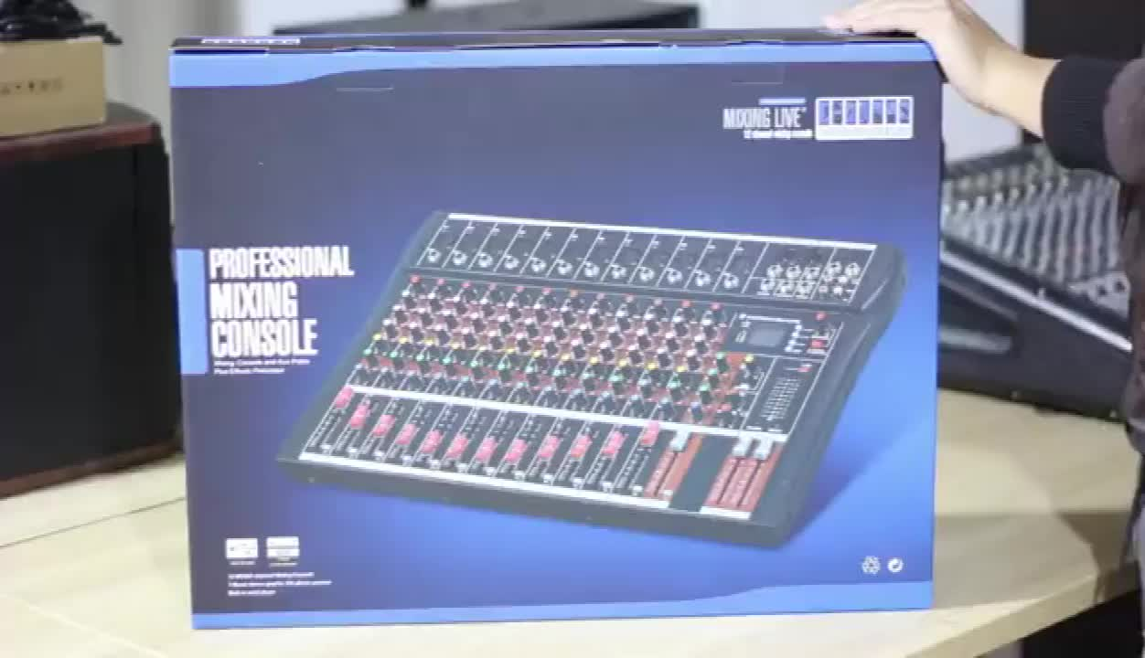Hot Sale 12-channel dj live professional digital usb audio mixer with bluetooth kit