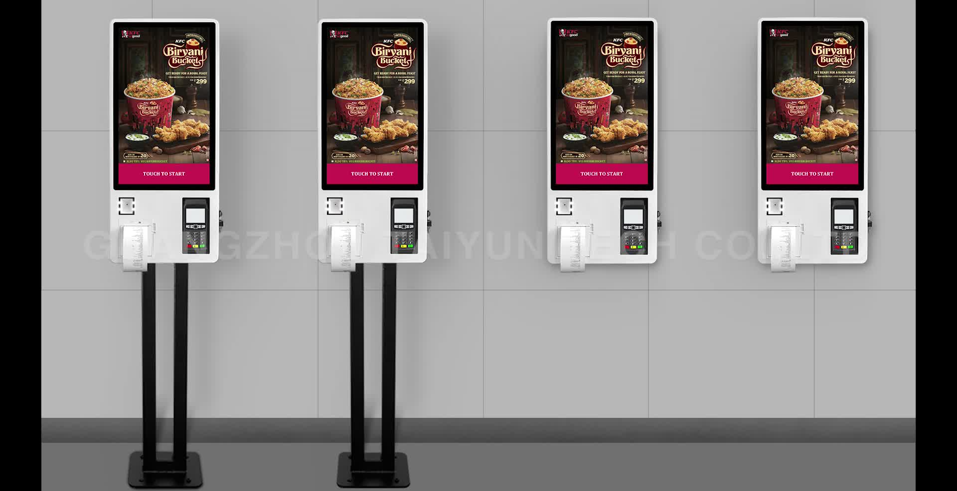 24 inch self service payment ordering kiosk in restaurant with barcode scanner thermal printer