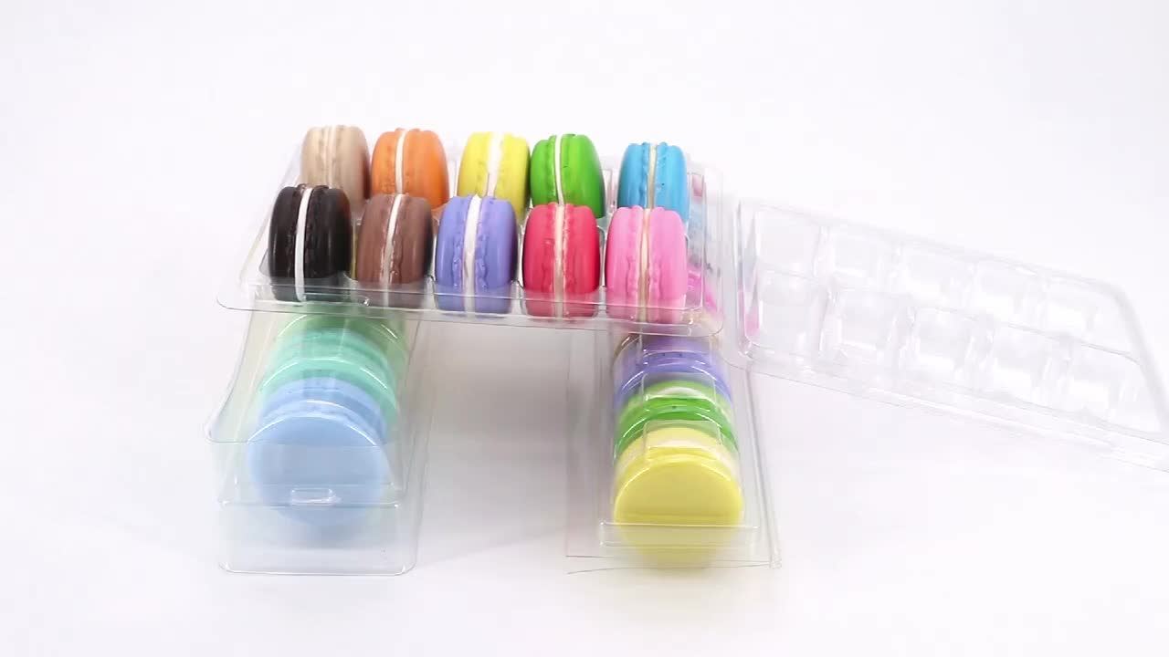 Disposable clear blister cookie container packing insert macaron boxes custom
