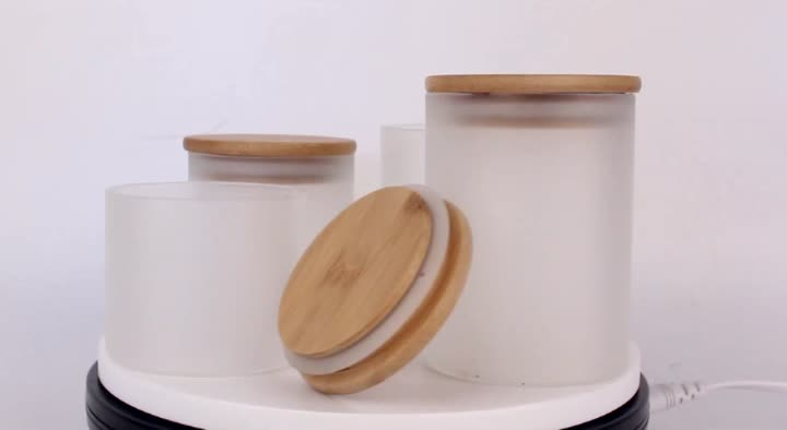 High Quality Screen Printed 50ml Glass frosted Jar With Wood Lid for Scented Candle