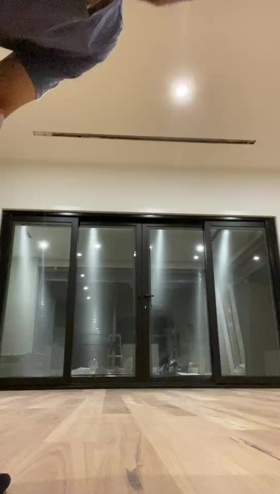 Double Low-e Glass Residential Automatic As2208 New Zealand Style Slide Door