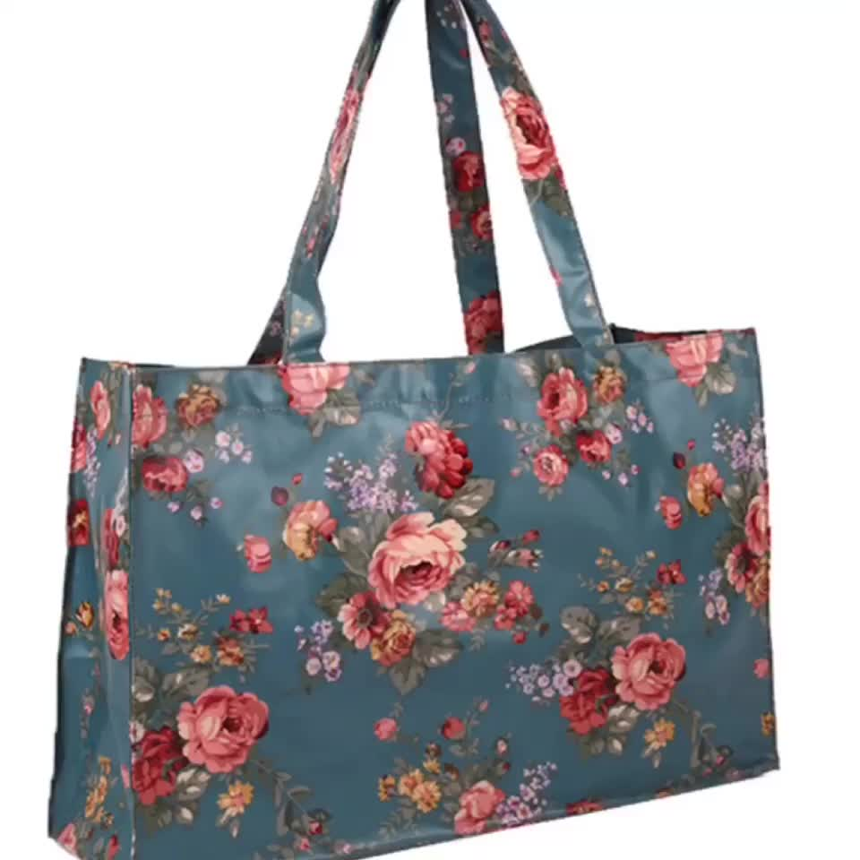 Laminated Tote Bag Reusable Grocery Shopping Bags Durable Multi Use Foldable Travel Duffel Totes Bag Coated