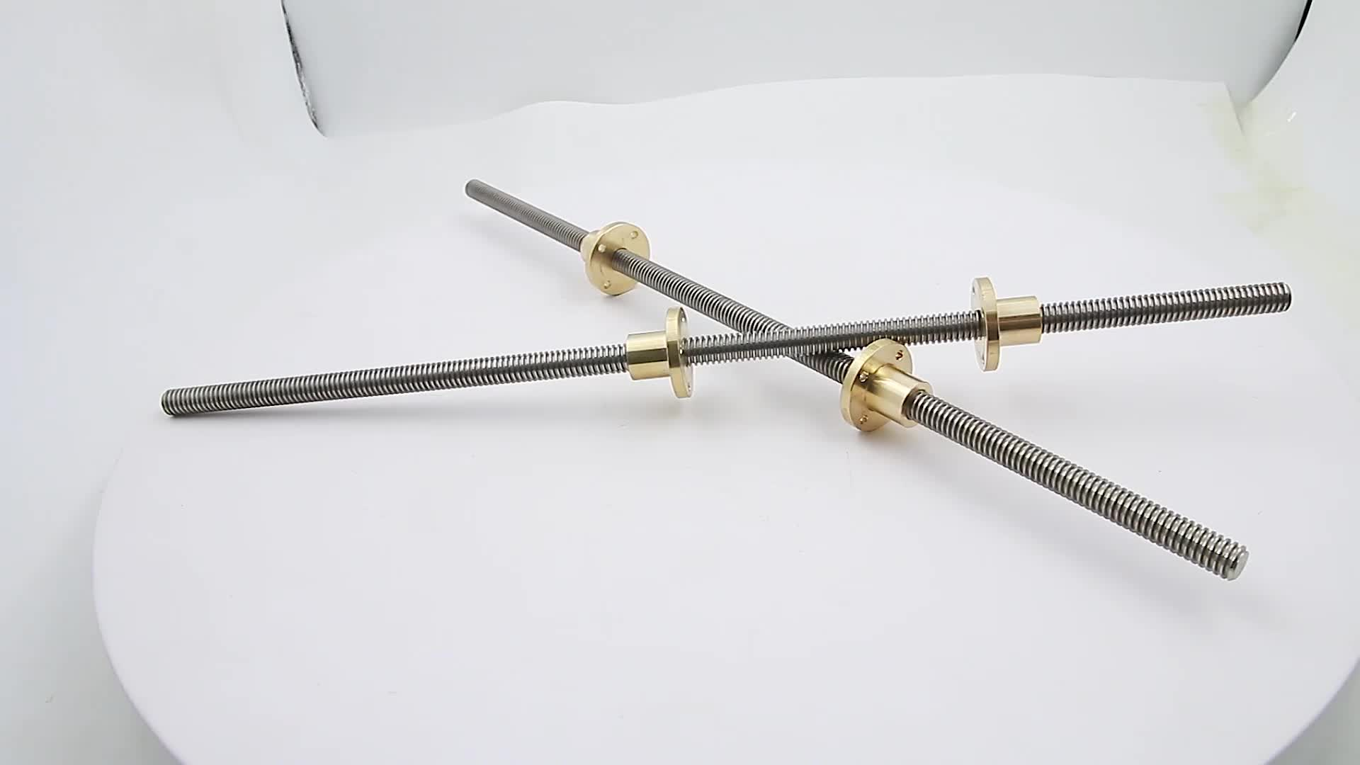 400mm length TR10x2 trapezoidal lead screw with right hand thread and left hand thread