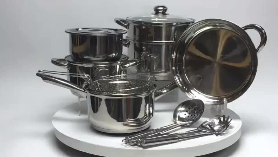 12-piece stainless steel kitchen cookware with free spare parts MSF-8178-2