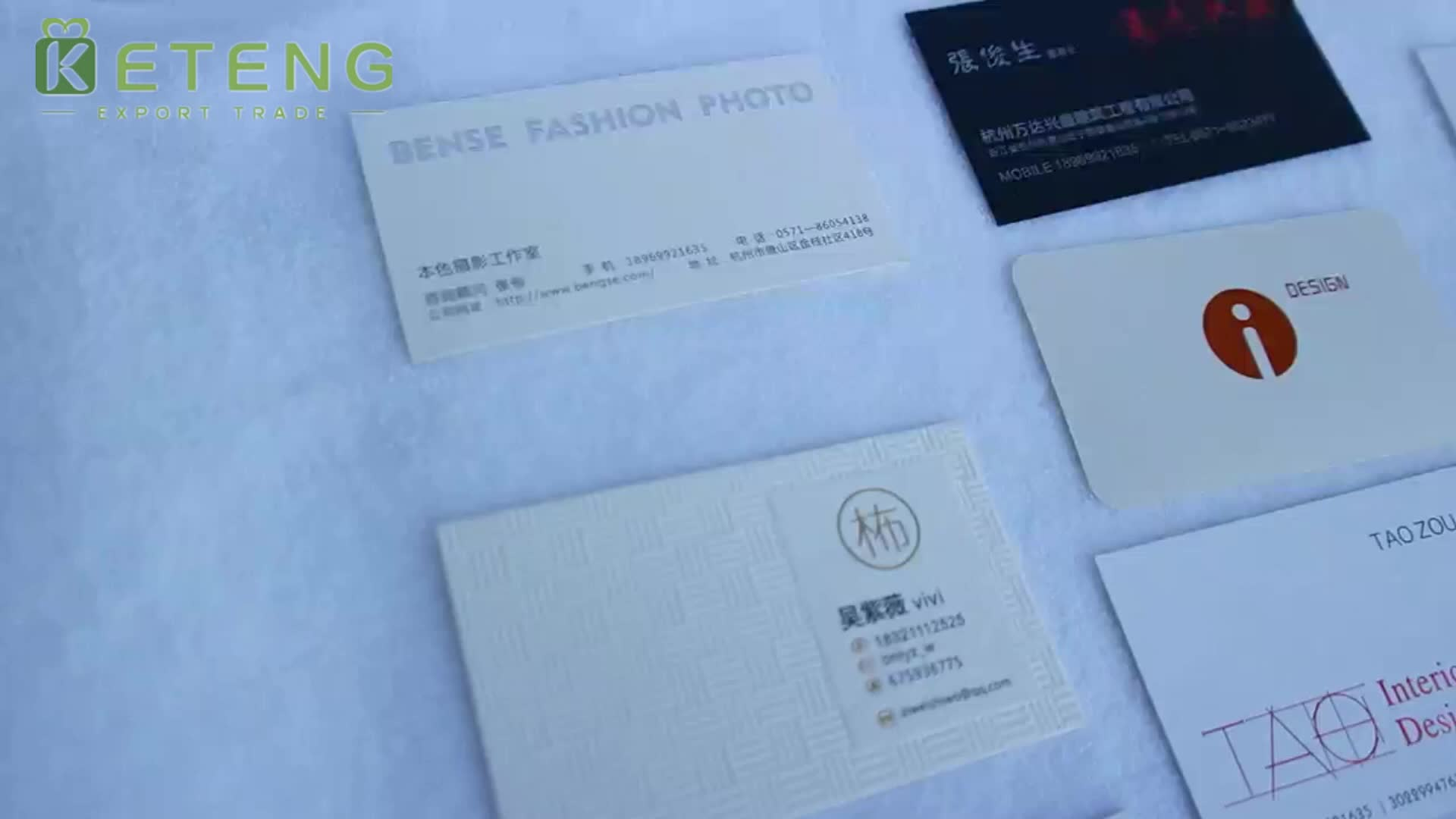 High grade luxury hot stamping paper business cards with spot uv logo name cards printing