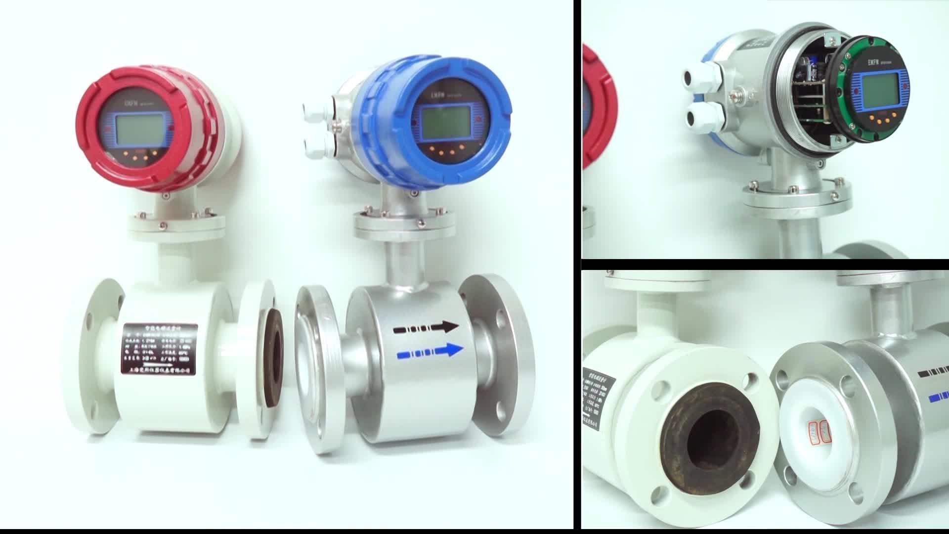 DN15 Diameter 0.4~6 m3/h Digital Acid Electromagnetic Water Flow Meter Magnetic Flowmeter