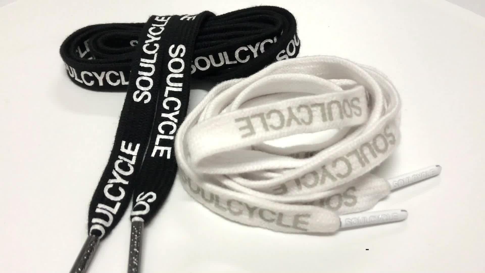 De cordones de algodón con Metal Aglets cordones de zapatos estampada poliéster cordones negro Cordón de cable para sudaderas con capucha