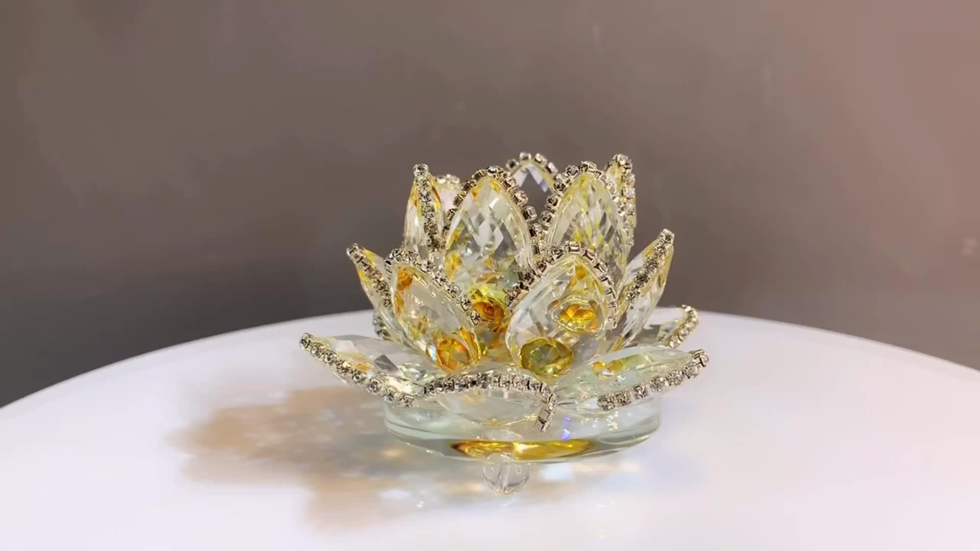 H & D ホリデーギフト工芸品クリスタル蓮の花の装飾品風水マスコットクリスタル花家の装飾アクセサリー妖精の庭