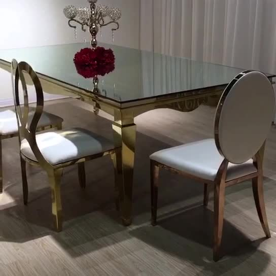 Fashionable Dining Room Furniture Rose Gold Metal Back Pu Infinity Chairs