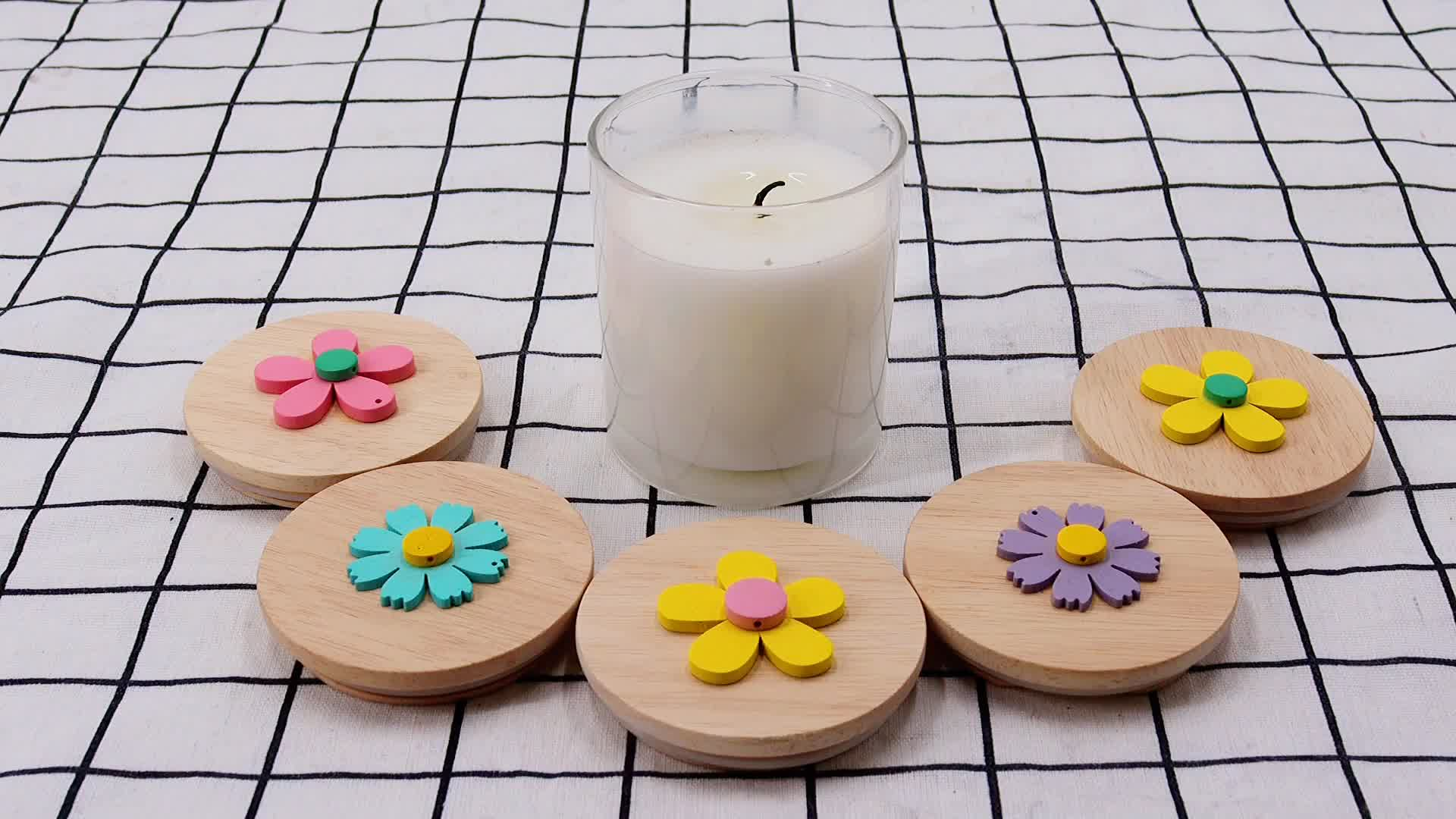 2020 New product customized  different size wooden lid for candle jar round shaped wooden candle cover for glass jars