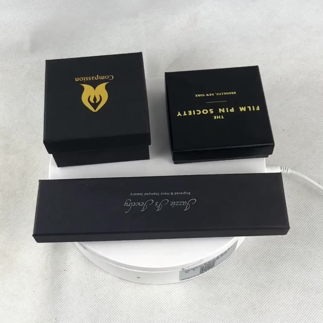 Customized Jewelry box Black paper box for gift package
