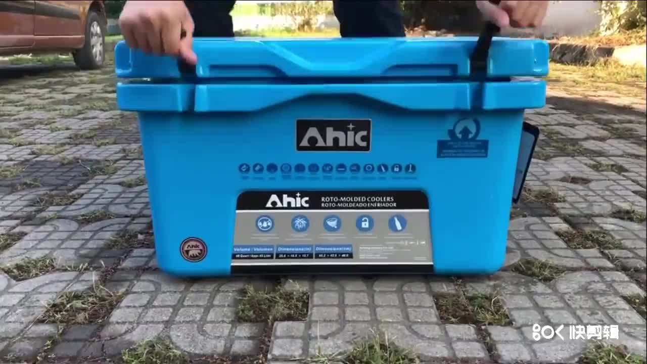 AHIC 45 QT Food grade material LLDPE  Rotomolded cooler for food with wheels and rope handles