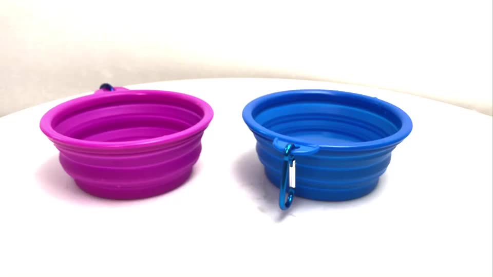애완견 먹이 휴대용 여행 그릇 접이식 실리콘 TPE Collapsible 개 애완 동물 먹이 그릇