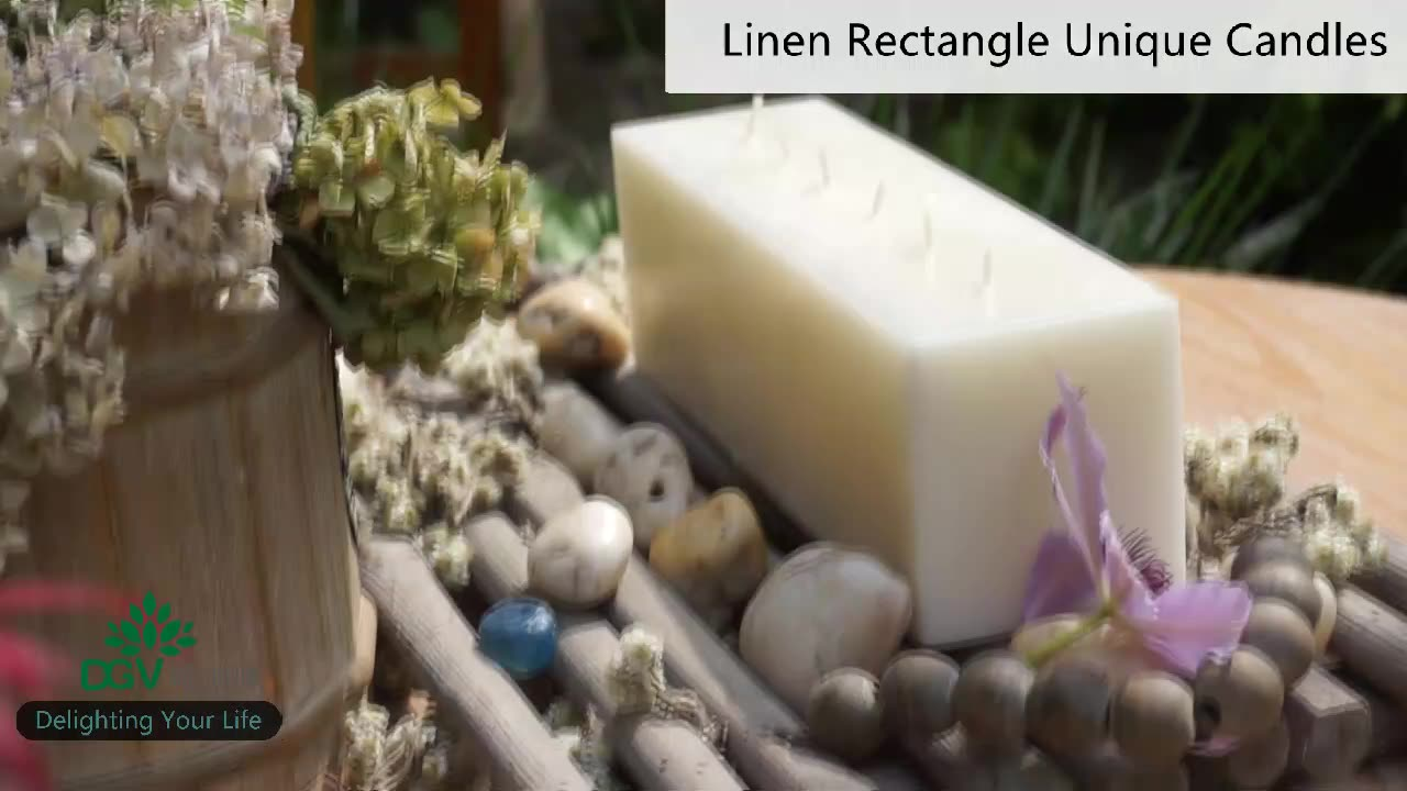Rectangular brick scented candle Aromatherapy wooden wick candles