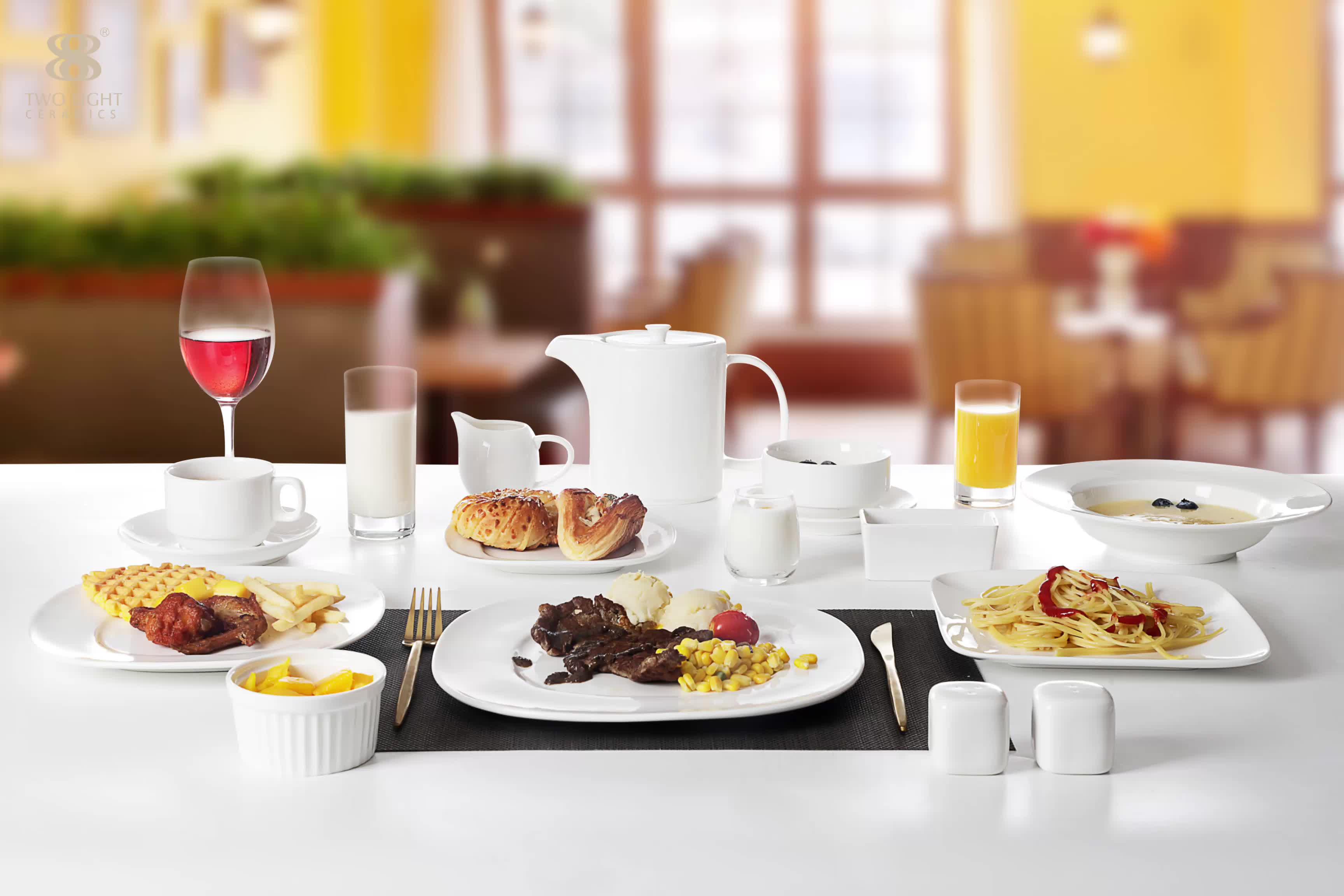 Hot Sale Scratch proof Restaurant Ceramics Dinner Set, Catering Porcelain Square Dinnerware Set, Hotel Plates Set Squares