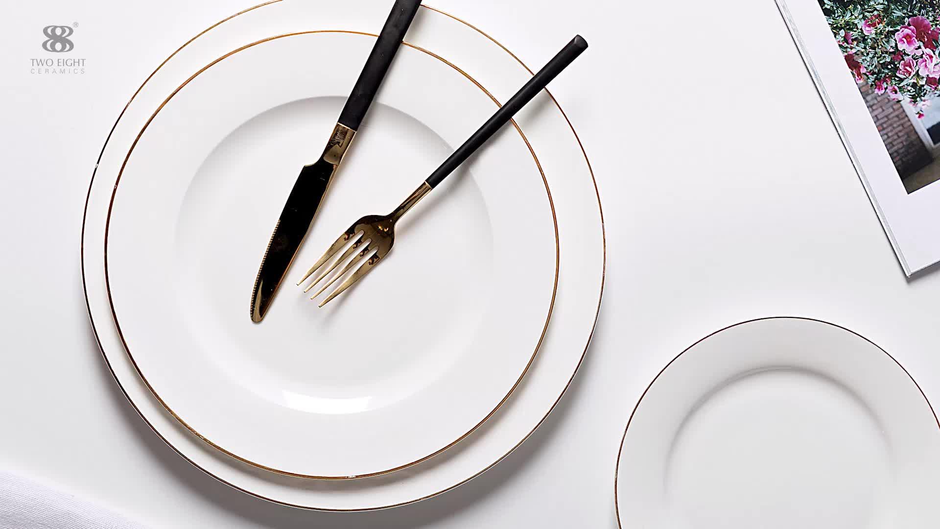 Hotel Restaurant Wedding Catering Bone China Dinner Plate, gold rim luxury dish