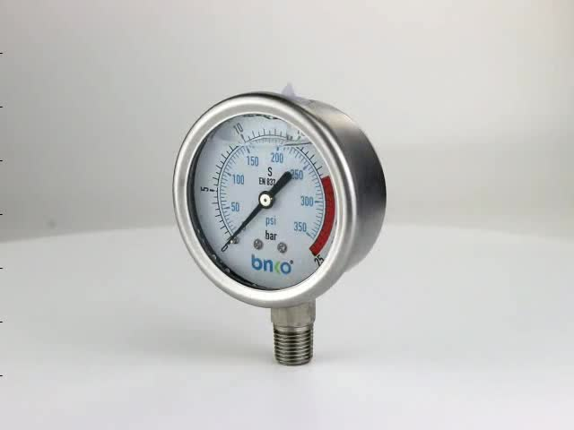 RO spare parts 68mm bottom connection liquid filled pressure gauge for hydraulic