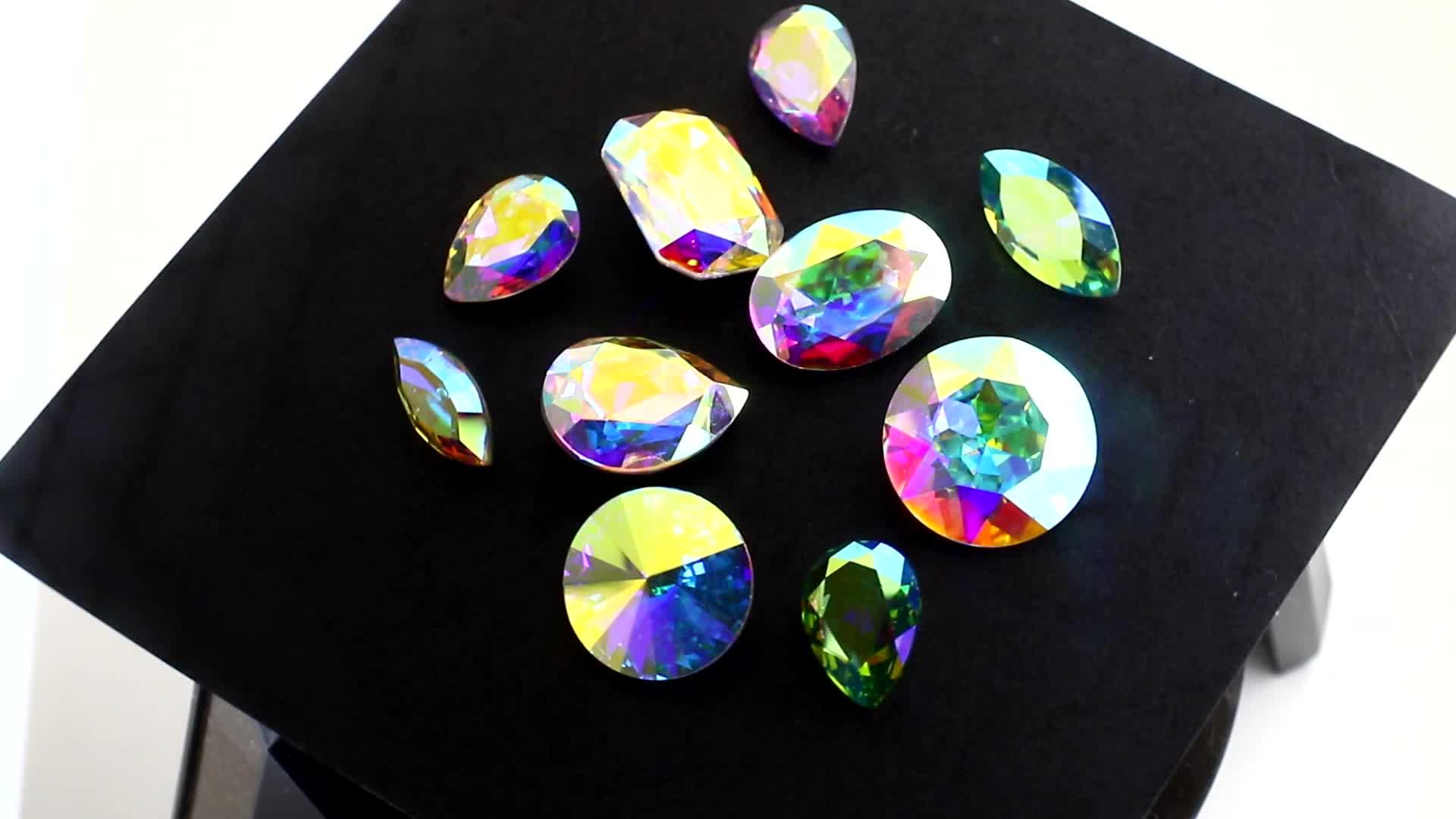 pointed back crystal rivoli rhinestone for jewelry making