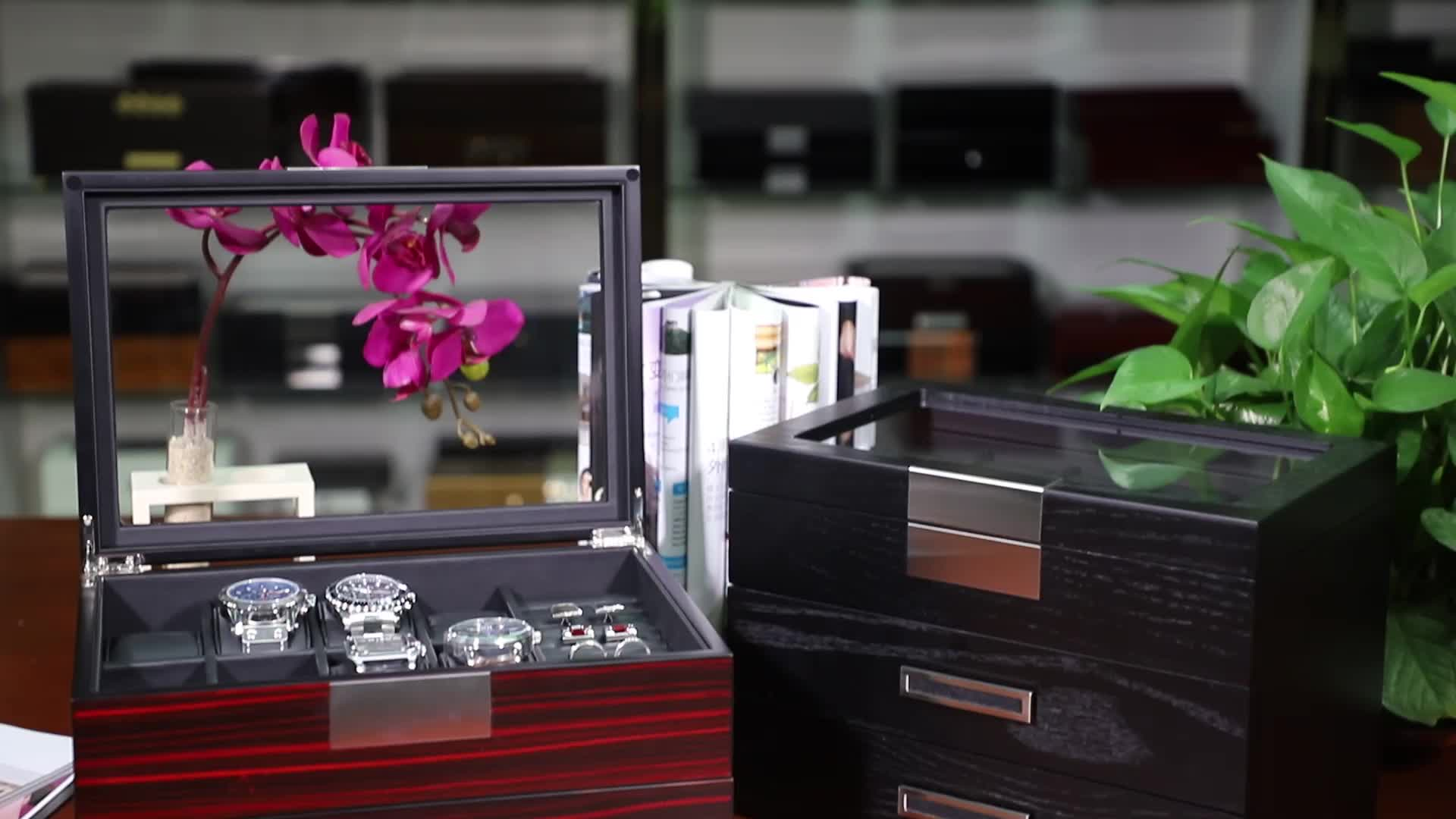 OEM Custom Real Veneer Wooden Jewelry Box for Cufflinks and Tie Clips Wholesale Watch Box