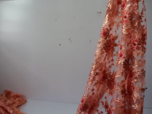 Beautifical African Lace Fabric Embroidered flower beads French Tulle Lace Fabric