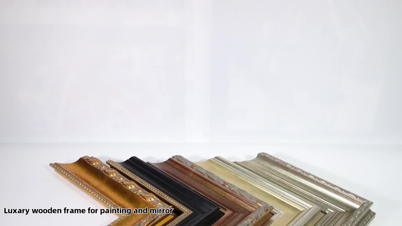 Solid Wood Pine Black Gold Line Painting Wood Picture Frame Moulding for Gallery