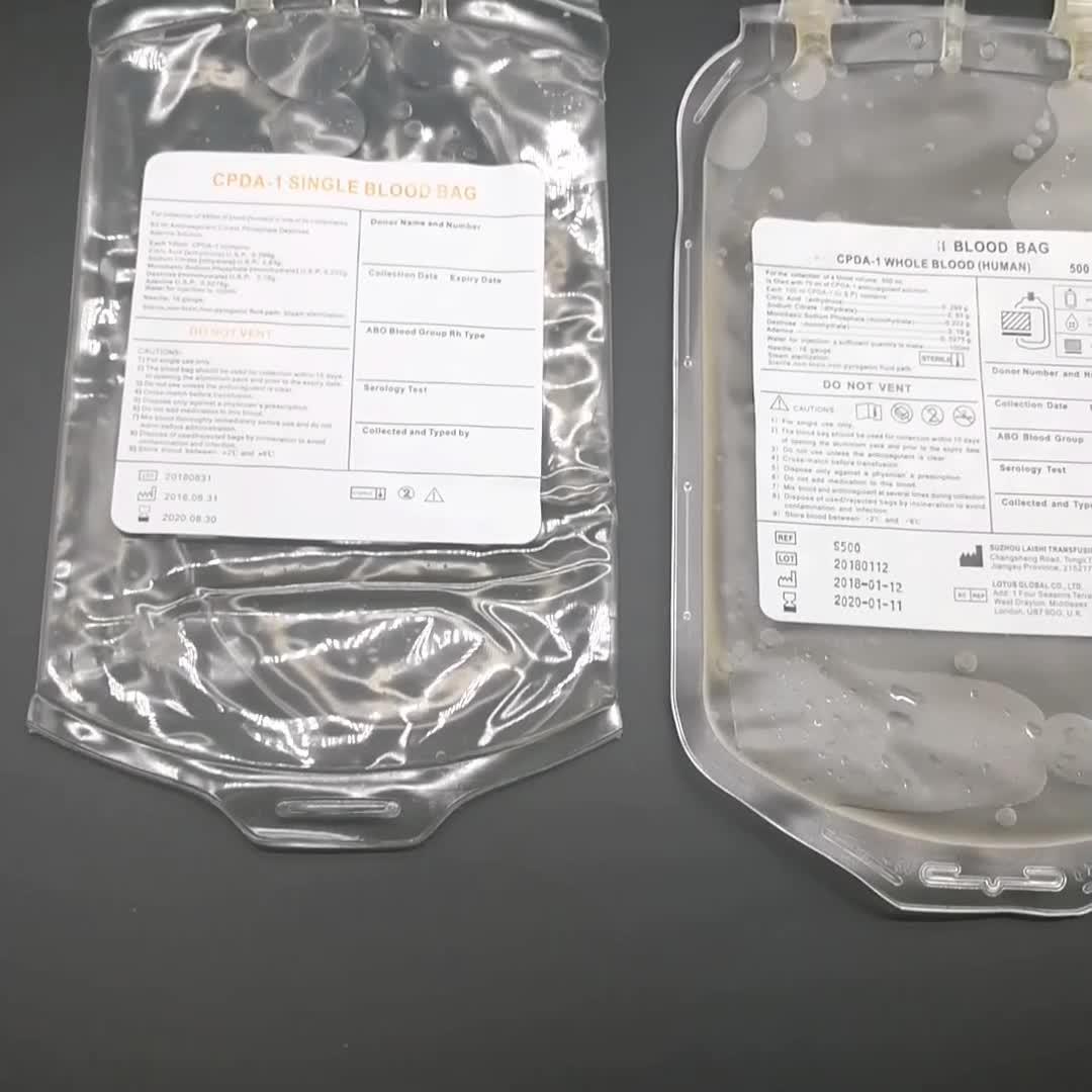 CE/ISO 13485 Medische Wegwerp 250 ml 450 ml 500 ml Enkele CPDA Bloed Opvangzak
