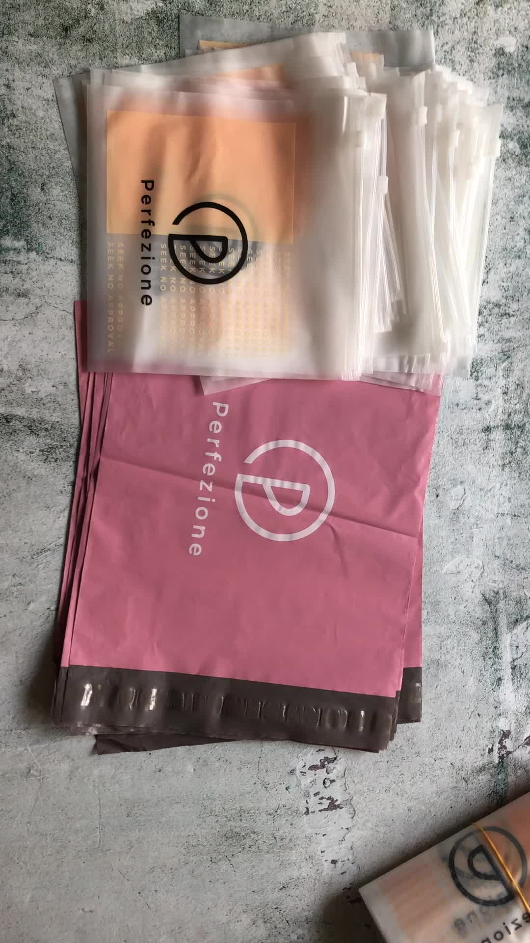 custom logo pink poly mailer envelope plastic shipping packaging bags for clothing
