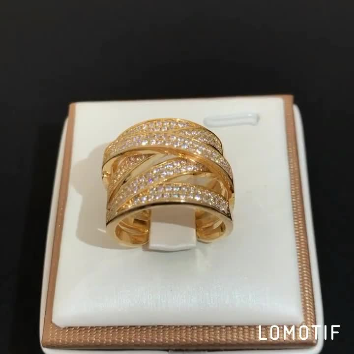 Fashion Latest Design 18K Gold Plated CZ Wedding Rings for Women & Men's New Model Promise Jewelry