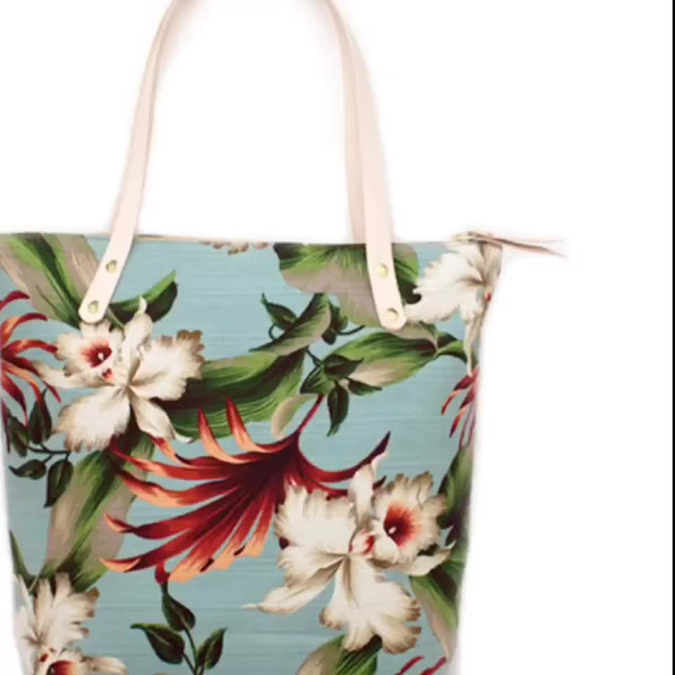 Reusable Grocery Bag Tote with Handles Custom Full Printing Durable Cotton Canvas Beach Shopping Bag