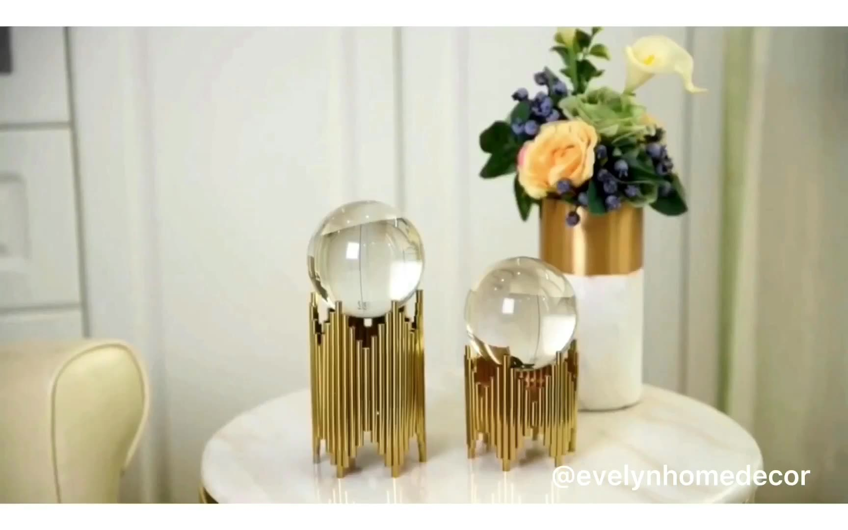 Luxury metal art craft mind crystal ball for sale wedding centerpieces crystal for interior decoration