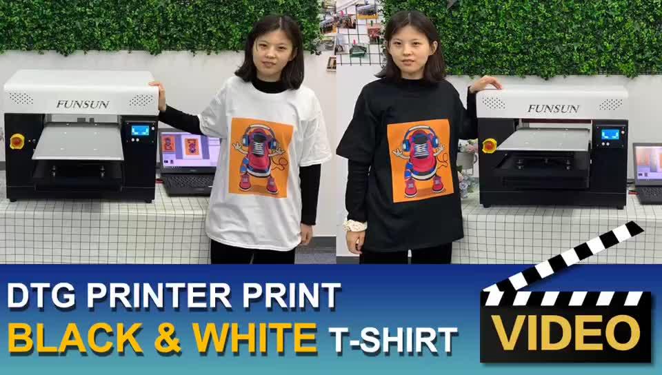 FUNSUN özelleştirilmiş A3 t-shirt dijital düz yataklı yazıcı doğrudan giysi baskı makinesi fabrika fiyat büyük promosyon