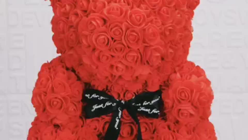 अमेज़न गर्म बेच कस्टम सुंदर गुलाब टेडी भालू कृत्रिम फोम फूल 40cm गुलाब भालू के साथ उपहार बॉक्स