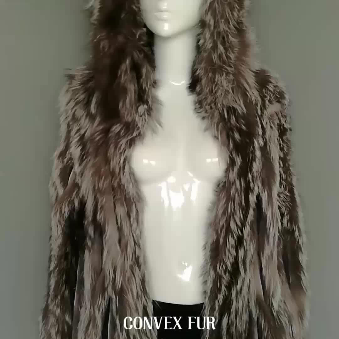 Üst sınıf gümüş tilki kürk bayan ceket kabarık gerçek kürk trendy palto hood ile