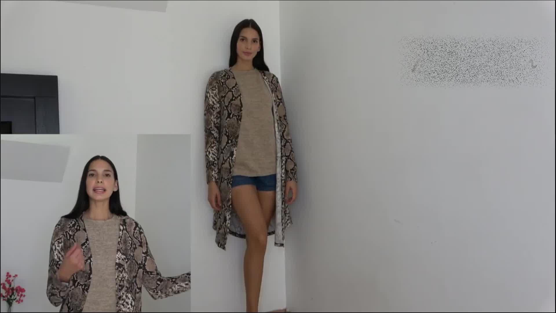 2020 Hot Gaya Produsen Musim Gugur Musim Dingin Kasual Leopard Mujeres Knit Maxi Long Cardigan Wanita