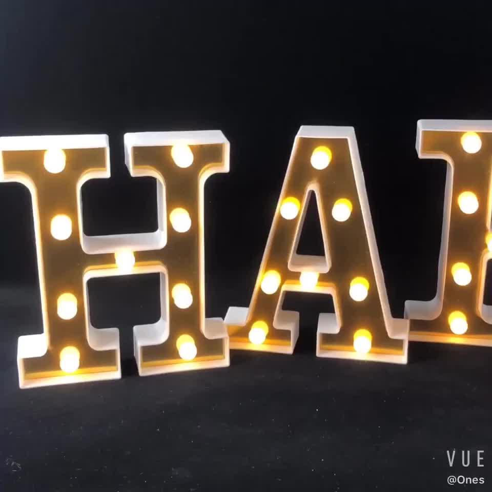 Luzes personalizadas do número árabe do alfabeto 3d led sinal de letra luz noturna ao ar livre para bar hotel decoração do festival de casamento