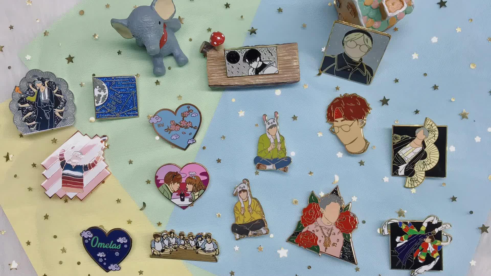 Korea Idola Keras Enamel Kerah Kustom Logam Bros Enamel Pin untuk Pin Kekasih Karakter Kartun Kerah Pin