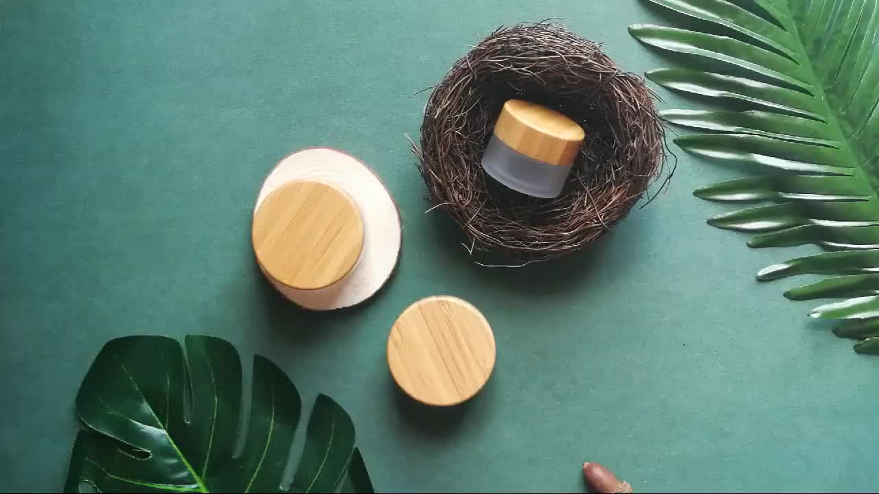 Cosmetic empty luxury 5g 15g 30g 50g 100g glass face cream jar with bamboo lids