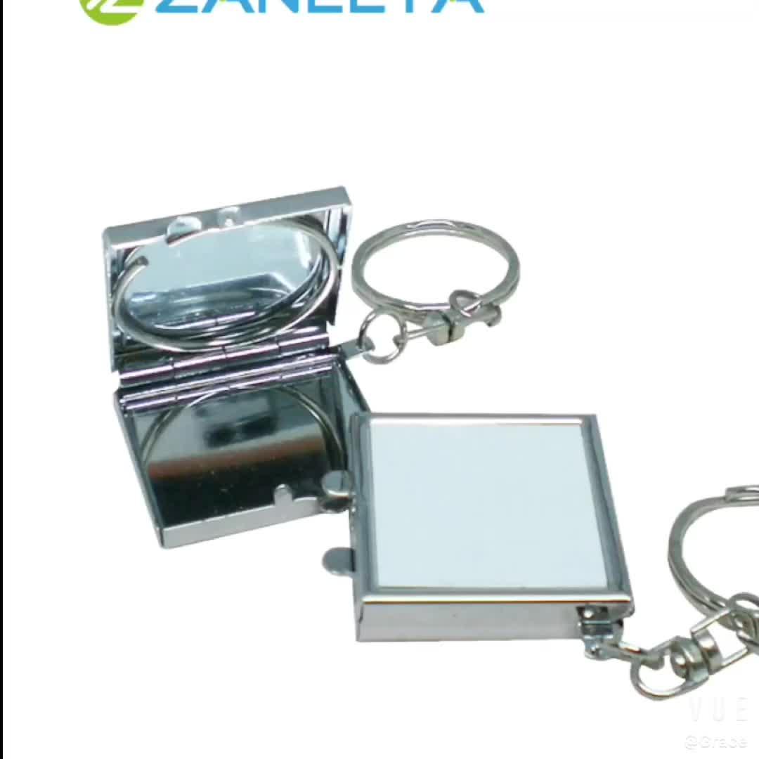 צורה עגולה חום העברת להדפסה ריק סובלימציה מתכת מתקפל כיס מראה