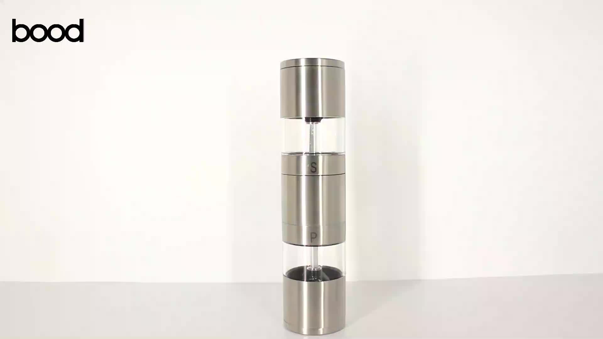 2 in 1 dual manual salt and pepper grinder with double ended design