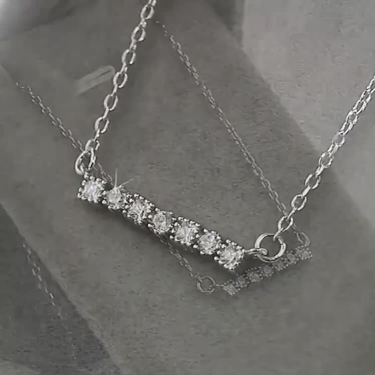 SSZB005 Simple clavicle with diamonds and zircon necklace in sterling silver jewelry wholesale
