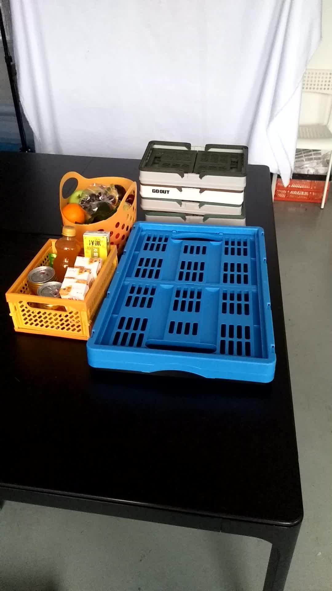 أعلى بيع الملونة البلاستيك تخزين سلة قابلة للطي